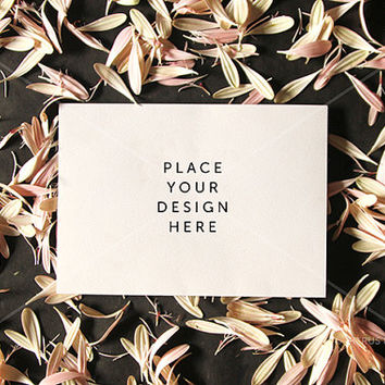 Styled Stock Photography - Product Presentation - Stationery or Invitation Mock Up -  Pink Petals & Blank Landscape Card on Dark Background