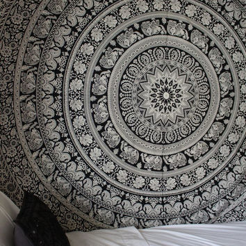 BOHEMIAN TAPESTRY MANDALA WALL HANGING, MANDALA THROW BEDDING BEDSPREAD