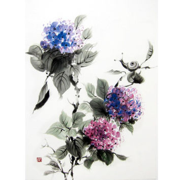 Japanese Ink Painting Suibokuga Sumi-e Asian art Japanese art Rice paper painting Blue- Hydrangea and Snail