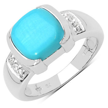 2.64 Carat Genuine Turquoise & White Sapphire .925 Sterling Silver Ring