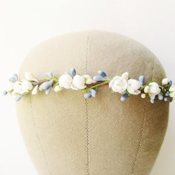 Flower crown, White floral headband, Wedding hair accessories, Bohemian wreath - SNOWDROP