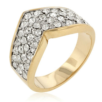 Olena Chevron Pave Two-Tone Band Ring | 1ct | Cubic Zirconia | 18k Gold