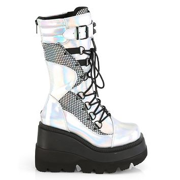 Silver Holographic Vegan Leather-Blk Fishnet Wedge Platform Lace-Up Mid-Calf Boot