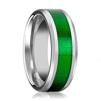 Tungsten Textured Green Inlay - Tungsten Wedding Band - Beveled - Polished Finish - 8mm - Tungsten Wedding Ring
