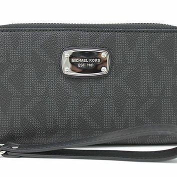 DCCKHI2 Michael Kors Jet Set Item Large Flat Multifunction Phone Wristlet Case, Black
