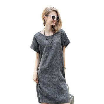 Summer Women Casual Loose Cotton Linen Dress Short Sleeve Tunic Belt Dresses P16 L4 B3