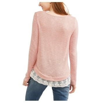 Moral Fiber Juniors' Caged V-Neck w/ Lace Hem Sweater - Walmart.com