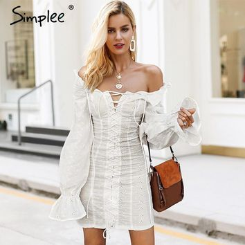 Simplee Off shoulder lace up sexy dress Ruffles long sleeve women dresses Slim Vintage criss cross female white dress 2018