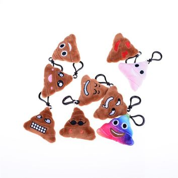 Emoji Poop Keychains Stuffed Plush Toy Small Emoji Pillow Keyrings for Promotional Gifts Stuffed Small Pendant for Bag Parts