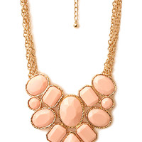 FOREVER 21 Forget-Me-Not Statement Necklace Peach/Gold One