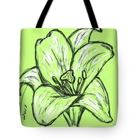 Green Lily Tote Bag