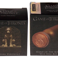 Game of Thrones Stark Direwolf Statue Hand King Wax Seal Mega Mini Kit Scrolls