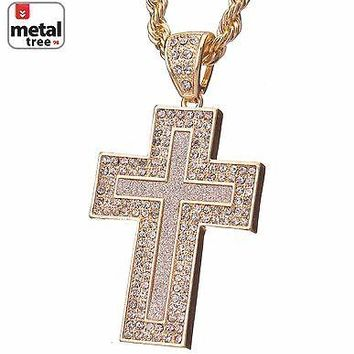 Jewelry Kay style Men's Fashion CZ Gold Plated Cross Pendant 5 mm Chain Necklace HC 5054 G