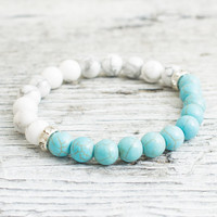 White howlite and turquoise beaded stretchy bracelet, made to order yoga bracelet, mens bracelet, womens bracelet