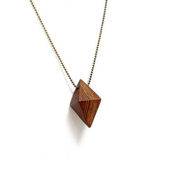 Bipyramid Geometric Wooden Prism Necklace