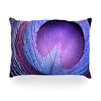 "Monika Strigel ""Purple Peacock"" Lavender Oblong Pillow"