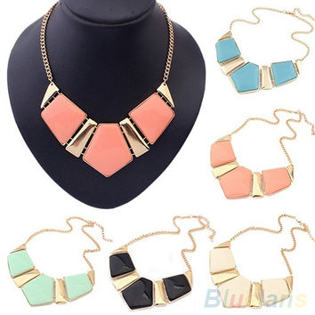 Fashion Gems Necklace Vintage Bib Statement Necklace Chain Chunky Collar Party = 1946104132