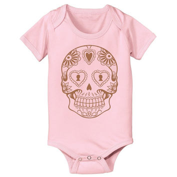SALE Baby Sugar Skull One Piece Bodysuit Infant Creeper Screen Printed Day of the Dead Boy or Girl Tshirt for Babies Cute Baby Shower Gift