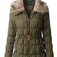 LE3NO Womens Quilted Puffer Zip Up Belted Jacket Coat with Faux Fur Collar