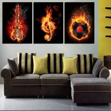 Music Art 3 Panel Wall Painting Modern Home Decors Black Burning Guitar Pop Art Pictures Decoration On Canvas Painting Printed