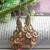 Pretty retro gold colorful filigree stone feathers peacock earrings pendant vintage style