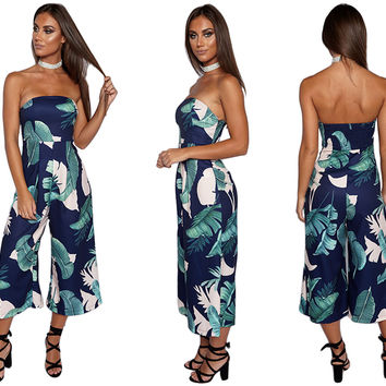 Green Leaf Print Summer Strapless Loose Romper