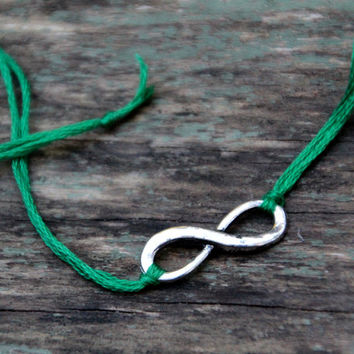 infinity bracelet emerald green st patricks day gift infinity jewelry wish bracelet friendship bracelet under 10 wishlet letterhappy