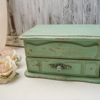 Green Vintage Jewelry Box, Small Antique Sea Glass Green Distressed Jewelry Chest, Cottage Chic Jewelry Holder, Shabby Chic  Gift Ideas