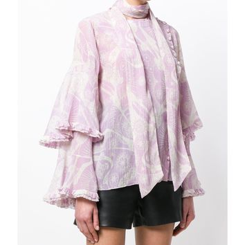 Chloé Ruffled Cotton and Silk-Blend Crepon Blouse - Pink/White Voluminous Tiered Sleeves Ruffled Trim Blouse