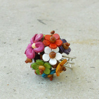 Summer Bouquet Leather Cluster Ring Fall Bouquet Leather Cluster Ring [2210] - $16.00 : Vintage Inspired Clothing & Affordable Summer Dresses, deloom | Modern. Vintage. Crafted.