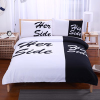 Black Bedding Set His Side & Her Side Home textiles Soft Duvet Cover and Pillowcases 3Pcs Twin Full Queen King Hot