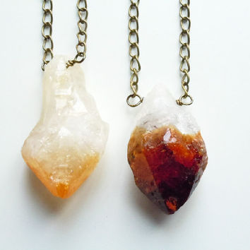X-large Raw Citrine Crystal Point Necklace - Long Layering Necklace -