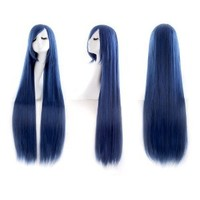 "MapofBeauty 40"" 100cm Blue/Black Long Straight Cosplay Costume Wig Fashion Party Wig"