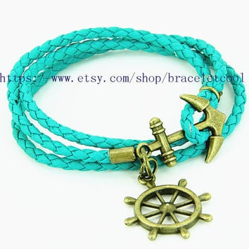 Turquoise Leather Woven Bracelet Simple Bracelet Women Wrap Bracelet, Anchor Bracelet MT3