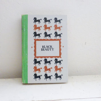 Black Beauty, Anna Sewell, hard cover book, illustrated book, classic story, horse book, black and white, children's literature, reading