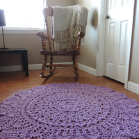 Crochet Doily Rug, floor, lilac orchid purple- Lace- large area rug, Cottage Chic- shabby home decor- rustic round rug, French Country Decor