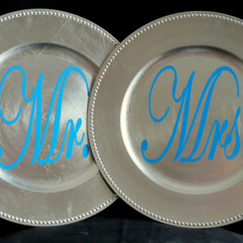 Mr and Mrs Plates, Tiffany Blue and Silver, Wedding Table Decor, Mrs Mr Decor, Silver Wedding Charger, Bride and Groom Decor 143