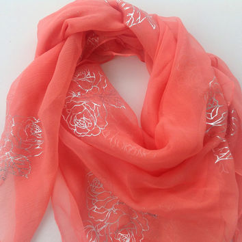 Mother in law Gift Salmon Coral silk square shawl, Best Friend gift, Birthday Gift, Festive Fashion Gift, Neckerchief gift for Coworker