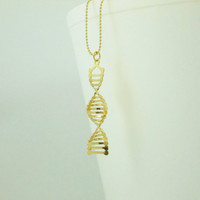 gold DNA necklace - 24 karat gold plated Double helix necklace