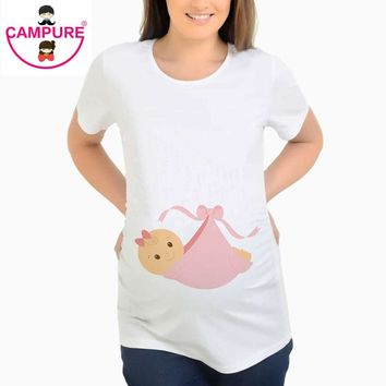 Fashion Casual Summer Pregnant T-shirt Baby Girl Cute Pattern Maternity Top Pregnancy T Shirt Great Gift Tee Clothing size S-XXL