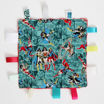 Girls Power Taggie, Superheroes, Female Heroes , Textured toy, Minky, Ribbons, Sensory toy, Tactile Stimulation, Tags, Cute baby girl gift