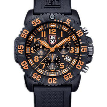 Luminox Mens Colormark Chrono - Black Dial & Orange Accents - Black Rubber Strap