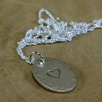 Hammered Oval Sterling Silver Necklace with Heart or Personalized Stamping