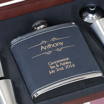 Personalized Flask Gift Set - Great Gift for Dad - Black Faux Leather w/ Gold Custom Engraving, 6pc Set