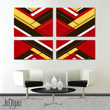"Made to order. Original abstract painting. 4 piece canvas art. 51x33"" Large painting with red, brown, yellow. Red painting. Modern wall art."