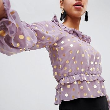 Fashion Union Prairie Top With Ruffles In Sheer Metallic Spot at asos.com