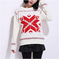 Beige Snowflake Print Knitted Sweater