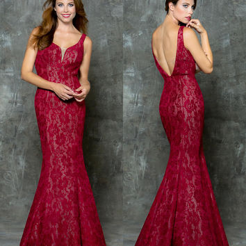 GLOW G675 Open Back Lace Mermaid Prom Evening Dress