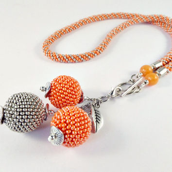 3in1 Orange and Silver Beaded Necklace with Beaded Bead pendant, Beaded Kumihimo Necklace, Spiral Rope Necklace with Natural Orange Jade