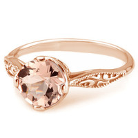 Peach Pink Morganite 14k Rose Gold Vintage Solitaire Engagement Ring